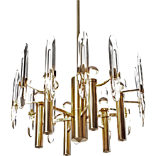 1960's Six-Light Gold-Plated Brass and Crystal Glass Chandelier by Gaetano Sciolari