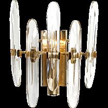1960s Gaetano Sciolari One-Light Brass and Glass Scone