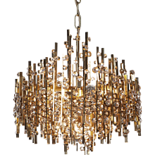 1960s Palwa Five-Light Gold-Plated Brass and Crystal Chandelier