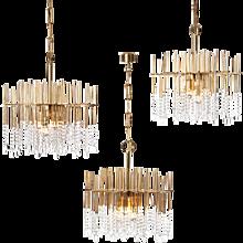 1960s six light Gilt Brass and Crystal Chandelier Light Attributed to Gaetano Sciolari