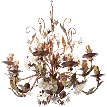 1930s Ten light Silver Plated Brass and Crystal Flowers outdoor Chandelier, Italian