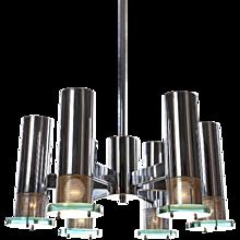 1960's 6 light Chandelier Attributed to Fontana Arte