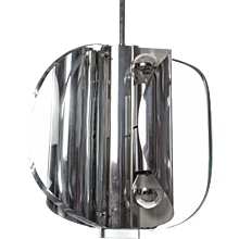 1960s Attributed to Max Ingrand for Fontana Arte Glass/Chrome Pendant