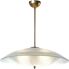 1950s Large Six-Light Satin Glass Pendant attributed to Max Ingrand, Fontana Arte