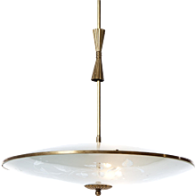 1940's three light brass & glass pendant by Fontana attributed to Pietro Chiesa