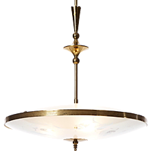 1940s Three-Light Glass and Brass Pendant. Pietro Chiesa for Fontana Arte