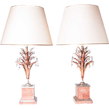 1930's silverplated nickel, polychrome & mountain crystal lamps attributed to Maison Baguès