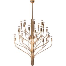 1960's Brass 32 lights chandelier