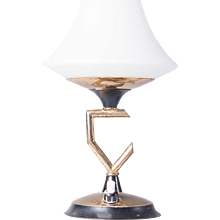 1950's glass & brass table lamp attributed to Stilnovo