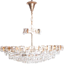 1960's Crystal & Brass 6 lights Chandelier by Palwa