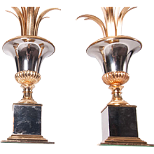 1960's Brass & Nickel tablelamps by Maison Charles