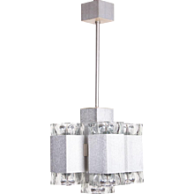 1960's Aluminium & Glass 9 light Chandelier by Sciolari