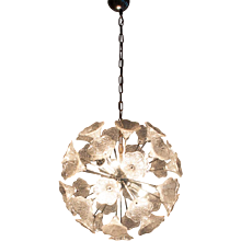 1960's Murano Glass & Chrome, 6 light flower Chandelier