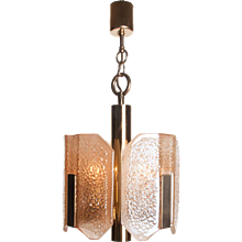 1960 Amber Murano Glass & brass 4 light Pendant by Barovier & Toso