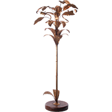 1940's Gilt-Brass & Wood Floor Lamp attributed to Maison Jansen