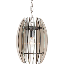 1970's Glass & Chrome Pendant Attirbuted to Veca
