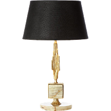 Brass and Onyx table lamp in style of Sciolari