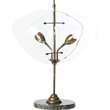 1950's Marble, brass and glass table lamp attributed to Fontana Arte