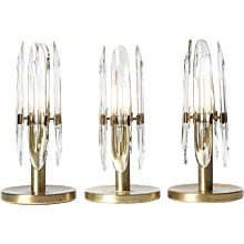 1970's Brass & Glass table lamps by Gaetano Sciolari