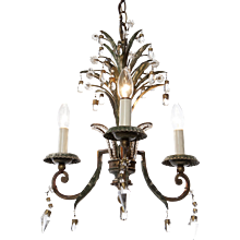 1920's Three-Light Gold and Silver Plated Brass and Crystal Chandelier attributed to Maison Baguès