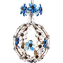 1940's Three-Light  Italian Lantern with Blue Crystal Flowers