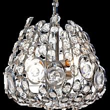 1960's six light chromed steel and glass chandelier by Stilkronen