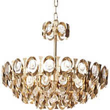 1960s Six-Light Crystal Glass and Gilt Brass Chandelier by Sciolari for PALWA