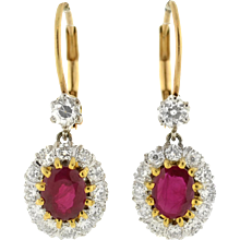 Estate 14kt Ruby & Diamond Cluster Earrings