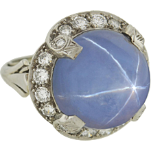 Late Art Deco 12ct Star Sapphire & Diamond Ring