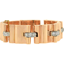 Retro 14kt Gold & Diamond Heavy Link Bracelet