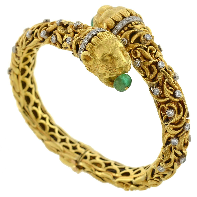Zolotas Vintage Emerald Amp Diamond Gold Lion Bracelet From