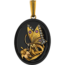 Victorian 15kt Onyx Raised Butterfly Locket with Diamonds