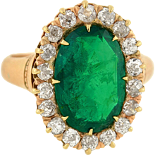 Victorian 14kt Natural Colombian Emerald & Diamond Ring 4.37ct