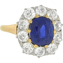 Edwardian Mixed Metals Diamond & Sapphire Cluster Ring