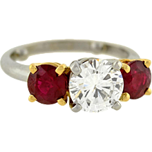 Contemporary Platinum Diamond Ruby 3-Stone Ring 1.58ct