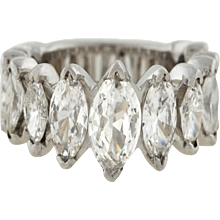 Vintage Platinum Marquise Diamond Band Ring 6.44ctw
