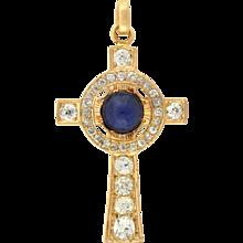 Victorian 14kt Cabochon Sapphire Diamond Cross Pendant