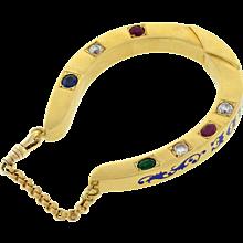 """Vintage 18kt """"Dieu Vous Garde"""" Horseshoe Bracelet 45.9dwt"""