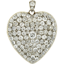 Edwardian Large Platinum Pave Diamond Heart Locket 10ctw