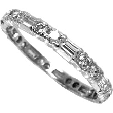 Estate Wedding Eternity Band Ring Platinum with Diamonds  2.3 mm W Size 7