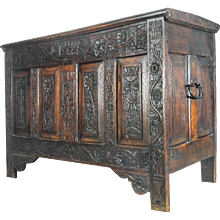Incredibly Hardwood Medieval Storage Chest Coffer Blanket Box Trunk. Dated 1646