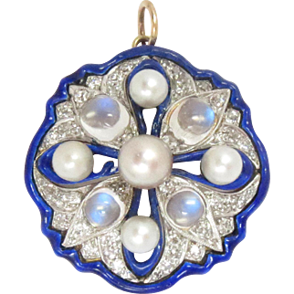 Antique Pendant 14 Kt Gold Enamel Diamond Pearl Moon Stone