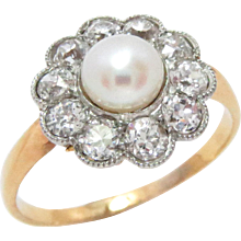 Antique Ring Platinum and 14 Kt Gold Pearl, Diamond Edwardian Size 9