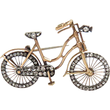 Bicycle Pin Brooch 14Kt Gold with Rose Diamonds Movable Wheels Edwardian Vintage