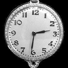 Pendant Watch Platinum and Diamond  Bigelow Kennard & Co. Vintage 1920s