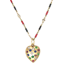Antique 14kt Heart Pendant Locket Enameled Chain Diamond Emerald Ruby Sapphire