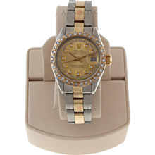 Pre-Owned 1978 Ladies Two Tone Datejust Watch With Champagne Diamond Dial And Diamond Bezel With Oyster Band Model# 6916  PRICE - $3500.00