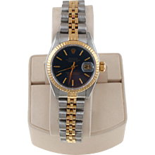 Pre-Owned 2000 Ladies Two Tone Datejust Watch With Blue Stick Dial And Fluted Bezel With Jubilee Band Model# 79173  PRICE - $3500.00