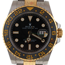 Pre-Owned 2007 Two Tone Rolex GMT Master II Watch With Black Index Dial And Black Ceramic Bezel With New Style Oyster Band Model# 116713 PRICE - $8900.00