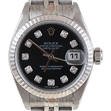 Pre-Owned 2001 Ladies Stainless Steel Datejust Watch With Black Diamond Dial And Fluted Bezel With Jubilee Band Model# 79174   PRICE - $3700.00